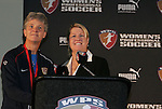 16 January 2009: WPS Chief Operating Officer Mary Harvey (right) with United States Women's National Team head coach Pia Sundhage (left). The 2009 inaugural Womens Pro Soccer (WPS) Draft was held at the Convention Center in St. Louis, Missouri in conjuction with the National Soccer Coaches Association of America's annual convention.