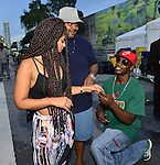 MIAMI, FL - JULY 25: Mýa and Leon Frager backstage during the Overtown Music and Arts Festival at the historic Overtown district of Miami on Saturday July 25, 2015 in Miami, Florida. ( Photo by Johnny Louis / jlnphotography.com )