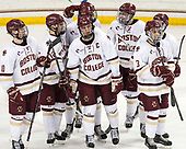 Christopher Brown (BC - 10), Mike Booth (BC - 12), David Cotton (BC - 17), Chris Calnan (BC - 11), Colin White (BC - 18), Luke McInnis (BC - 3) - The Boston College Eagles defeated the University of Vermont Catamounts 7-4 on Saturday, March 11, 2017, at Kelley Rink to sweep their Hockey East quarterfinal series.The Boston College Eagles defeated the University of Vermont Catamounts 7-4 on Saturday, March 11, 2017, at Kelley Rink to sweep their Hockey East quarterfinal series.