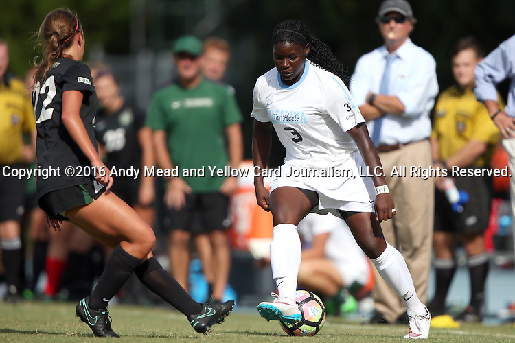 21 August 2016: North Carolina's Ru Mucherera (3) and Charlotte's Sophie Sipprell (22). The University of North Carolina Tar Heels hosted the University of North Carolina Charlotte 49ers in a 2016 NCAA Division I Women's Soccer match. UNC won the game 3-0
