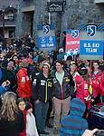 Members of the US Olympic Ski Team walk in a parade during the Olympic Homecoming Celebration at Squaw Valley on Friday night, March 21, 2014.