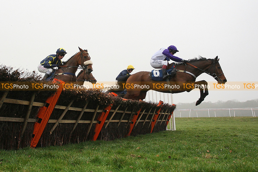 Cuckoo Pen ridden by Mattie Batchelor leads during the the Berry Bros & Rudd National Hunt Novices Hurdle - Horse Racing at Newbury Racecourse, Berkshire - 02/03/12 - MANDATORY CREDIT: Gavin Ellis/TGSPHOTO - Self billing applies where appropriate - 0845 094 6026 - contact@tgsphoto.co.uk - NO UNPAID USE.