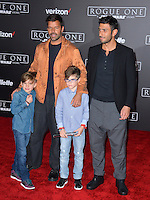 Musician Ricky Martin, Carlos Gonzalez Abella &amp; children Valentino Martin &amp; Matteo Martin at the world premiere of &quot;Rogue One: A Star Wars Story&quot; at The Pantages Theatre, Hollywood. <br /> December 10, 2016<br /> Picture: Paul Smith/Featureflash/SilverHub 0208 004 5359/ 07711 972644 Editors@silverhubmedia.com