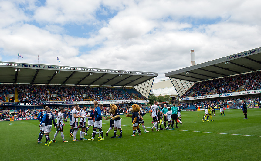 The teams shake hands before the game<br /> <br /> Photographer Ashley Western/CameraSport<br /> <br /> The EFL Sky Bet Championship - Millwall v Bolton Wanderers - Saturday August 12th 2017 - The Den - London<br /> <br /> World Copyright &not;&copy; 2017 CameraSport. All rights reserved. 43 Linden Ave. Countesthorpe. Leicester. England. LE8 5PG - Tel: +44 (0) 116 277 4147 - admin@camerasport.com - www.camerasport.com