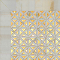 Joie, a waterjet mosaic shown in honed 24K Gold Glass and polished Calacatta, is part of the Aurora™ Collection by Sara Baldwin for New Ravenna.