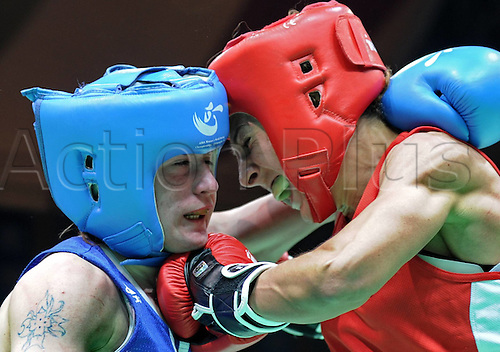 19.05.2012. Qinhuangdao China.  Gold medalist Alexandra Kuleshova l of Russia clashes with Terry Gordini of Italy during the womens 54kg Final at The AIBA Elite Women World Championship in Qinhuangdao North Chinas Hebei Province May 19 2012
