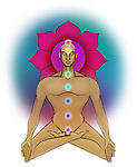 Illustrative representation showing the seven chakras of human body