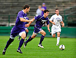 13 September 2009: University of Portland Pilots' defenseman/forward Logan Emory (3), a Senior from Boise, Idaho, in action against the University of New Hampshire Wildcats during the second round of the 2009 Morgan Stanley Smith Barney Soccer Classic held at Centennial Field in Burlington, Vermont. The Pilots defeated the Wildcats 1-0 and inso doing were the Tournament Champions for 2009. Mandatory Photo Credit: Ed Wolfstein Photo