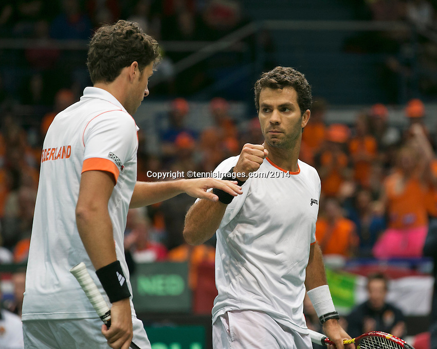 01-02-14,Czech Republic, Ostrava, Cez Arena, Davis Cup Czech Republic vs Netherlands, ,  Haase/Rojer(NED)   <br /> Photo: Henk Koster