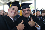 Elliot Drange, left, and Pedro Ramirez, both of Carson City, both received their Bachelor of Technology in Construction management during the 2015 Western Nevada College Commencement held at the Pony Express Pavilion in Carson City, Nev., on Monday, May 18, 2015.<br /> Photo by Tim Dunn