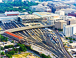 Aerial view of the Washington DC Union Station, Amtrak Train Tracks