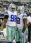 Dallas Cowboys defensive end Clifton Geathers (98) and Dallas Cowboys defensive tackle Josh Brent (92) in action during the pre- season game between the St. Louis Rams and the Dallas Cowboys at the Cowboys Stadium in Arlington, Texas. Dallas defeats St. Louis  20 to 19.