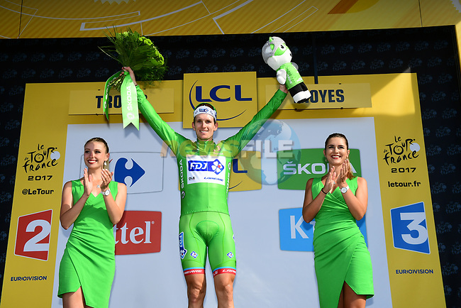 Arnaud Demare (FRA) FDJ retains the Green Jersey at the end of Stage 6 of the 104th edition of the Tour de France 2017, running 216km from Vesoul to Troyes, France. 6th July 2017.<br /> Picture: ASO/Alex Broadway   Cyclefile<br /> <br /> <br /> All photos usage must carry mandatory copyright credit (&copy; Cyclefile   ASO/Alex Broadway)