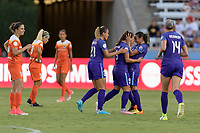 Houston, TX - Saturday June 17, 2017:Camila Martins Pereira celebrates her goal with Marta Vieira Da Silva and Monica Hickmann Alves during a regular season National Women's Soccer League (NWSL) match between the Houston Dash and the Orlando Pride at BBVA Compass Stadium.