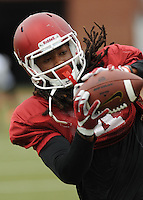 NWA Democrat-Gazette/ANDY SHUPE<br /> Arkansas receiver Keon Hatcher makes a catch Tuesday, Aug. 18, 2015, during practice at the university's practice field in Fayetteville.