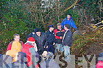 WE SHALL NOT BE STOP: The walkers of the Fenit Rail Walkway walk going over the obstruction on Sunday.