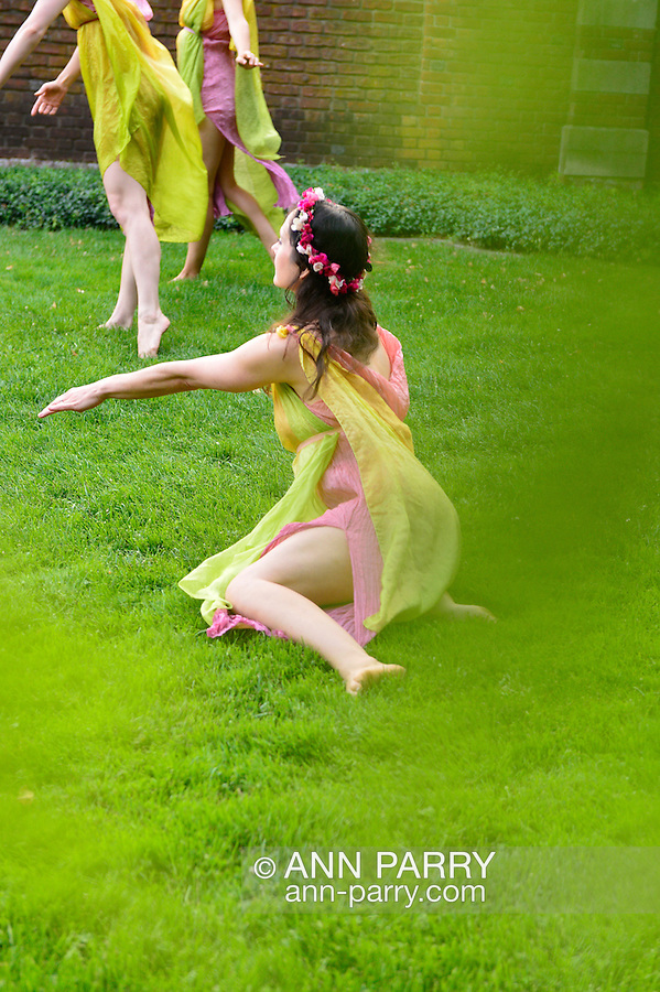 Old Westbury, New York, U.S. 22nd June 2013. Seen through garden foliage, dancers in the Lori Belilove & The Isadora Duncan Dance Company, with the Beliloveables, dance at the Midsummer Night event at Old Westbury Gardens, on the grounds of the historic Long Island Gold Coast estate.