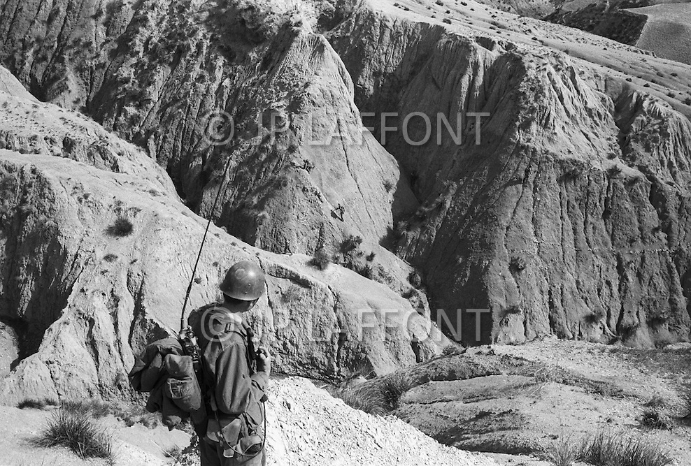 Mascara Area, Algeria, Summer 1961. Harkis from M'Zaourat post, during a routine operation. They are part of the 158th Infantery Batallion based in Mascara.