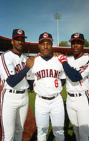 Cleveland Indians Mark Whiten (23), Albert Belle (8) and Glenallen Hill (1) during Spring Training 1993 at Chain of Lakes Park in Winter Haven, Florida.  (MJA/Four Seam Images)