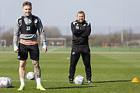 (L-R) Barrie McKay and Billy Reid, assistant manager in action during the Swansea City Training Session at The Fairwood Training Ground, Swansea, Wales, UK. Thursday 28 March 2019