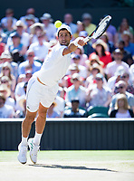 Novak Djokovic (SRB) in action during the Gentlemen's Singles Final against Kevin Anderson (RSA)
