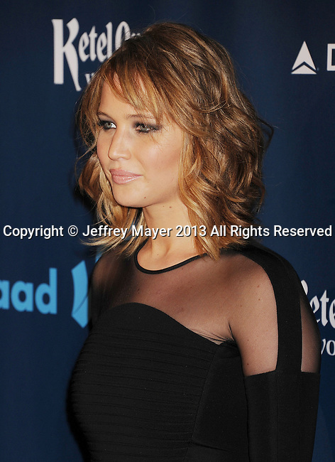 LOS ANGELES, CA- APRIL 20: Actress Jennifer Lawrence arrives at the 24th Annual GLAAD Media Awards at JW Marriott Los Angeles at L.A. LIVE on April 20, 2013 in Los Angeles, California.