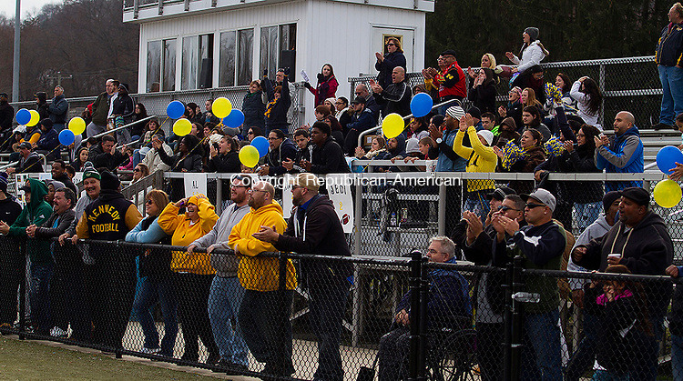 WATERURY, CT - 26 NOVEMBER 2015 -112615JW14.jpg -- Kennedy fans cheer a touchdown against Crosby during the Thanksgiving Day 2015 Brass Division and City Championship game at Ray Snyder Sr. Field Thursday morning. Crosby won 18-15.  Jonathan Wilcox Republican-American