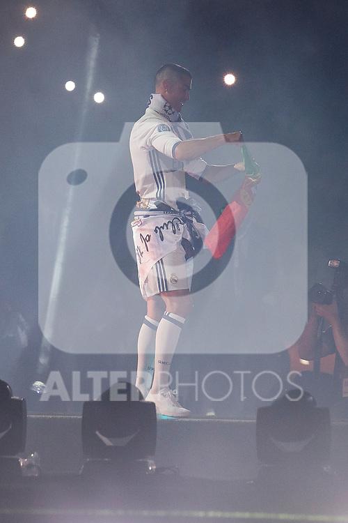 Real Madrid Cristiano Ronaldo during the celebration of the 13th UEFA Championship at Santiago Bernabeu Stadium in Madrid, June 04, 2017. Spain.<br /> (ALTERPHOTOS/BorjaB.Hojas)