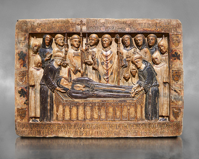 Gothic Catalan marble relief sculpture from the tomb of Margarida Cadell, died 1308, from the convent of Sant Domenee de Puigcerda, Cerdanya, Spain.  National Museum of Catalan Art, Barcelona, Spain, inv no: MNAC  4366. Against a grey textured background.