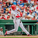 20 May 2018: Washington Nationals outfielder Michael Taylor in action against the Los Angeles Dodgers at Nationals Park in Washington, DC. The Dodgers defeated the Nationals 7-2, sweeping their 3-game series. Mandatory Credit: Ed Wolfstein Photo *** RAW (NEF) Image File Available ***
