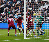 1st February 2020; London Stadium, London, England; English Premier League Football, West Ham United versus Brighton and Hove Albion; Angelo Ogbonna of West Ham United deflects the ball into his own net for an own goal in the 46th minute to make it 2-1