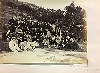 BNPS.co.uk (01202 558833)<br /> Pic: DominicWinterAuction/BNPS<br /> <br /> British residents on a 'Pic-nic near Lin Tin'.<br /> <br /> Revealed - A fascinating photo album from the very early days of British Hong Kong...long before the skyscrapers covered it over.<br /> <br /> The 150 year old photos of Hong Kong taken by one of the first British photographers to venture to the Far East have emerged for sale for £15,000.<br /> <br /> John Thomson, who was also a geographer, left Edinburgh for Singapore in 1862 and spent the following decade travelling the region.<br /> <br /> He explored a decidely low-rise Hong Kong from 1868 to 1870, taking numerous pictures of the rapidly expanding settlement and its industrious inhabitants.<br /> <br /> They capture the area, which is currently engulfed in unrest and protest, at a far more tranquil time.<br /> <br /> The photos are being sold with auction house Dominic Winter, of Cirencester, Gloucs.