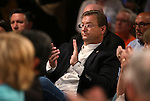 U.S. Sen. Dean Heller, R-Nev., listens as Republican presidential candidate Jeb Bush speaks to about 200 people at a town hall meeting in Carson City, Nev., on Friday, July 17, 2015. <br /> Photo by Cathleen Allison