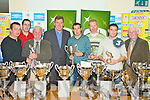KILLORGLIN FC: Member's of Killorglin FC winners of the Denny Premier B division receiving their trophy from World Cup Hero Packie Bonner at the Kerry District League awards night at Mounthawk Park on Friday l-r: Paul Russell, Trevor Dunlea, John O'Regan (secretary KDL), Packie Bonner, Aidan O'Connor, Maurice O'Shea, Paul O'Connor and Don O'Donoghue (Vice Chairman KDL).