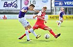 2018-08-11 / Voetbal / Seizoen 2018-2019 / Beker van Belgi&euml; / Hoogstraten VV - Wevelgem City / Bob Swaegers (Hoogstraten) zet een bezoeker onder druk<br /> <br /> ,Foto: Mpics