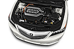 Car stock 2016-2017 Acura RLX Sport Hybrid 4 Door Sedan engine high angle detail view
