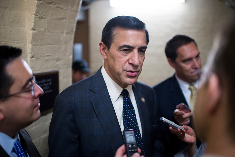 UNITED STATES - SEPTEMBER 26: Rep. Darrell Issa, R-Calif., speaks with reporters as he leaves the House Republican Conference meeting in the basement of the Capitol on Thursday, Sept. 26, 2013. (Photo By Bill Clark/CQ Roll Call)