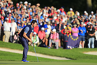 Rory McIlroy (NIR) Team Europe on the 16th during the Friday afternoon fourball at the Ryder Cup, Hazeltine national Golf Club, Chaska, Minnesota, USA.  30/09/2016<br /> Picture: Golffile | Fran Caffrey<br /> <br /> <br /> All photo usage must carry mandatory copyright credit (&copy; Golffile | Fran Caffrey)