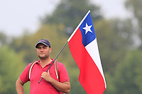 Felipe Aguilar (CHI) fan waits on the 16th tee to resume after thunderstorm suspended play during Saturday's Round 3 of the Porsche European Open 2018 held at Green Eagle Golf Courses, Hamburg Germany. 28th July 2018.<br /> Picture: Eoin Clarke | Golffile<br /> <br /> <br /> All photos usage must carry mandatory copyright credit (&copy; Golffile | Eoin Clarke)
