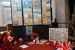 First world war remembrance display for local men, Parish Church of Saint Andrew, Castle Combe, Wiltshire, England, UK