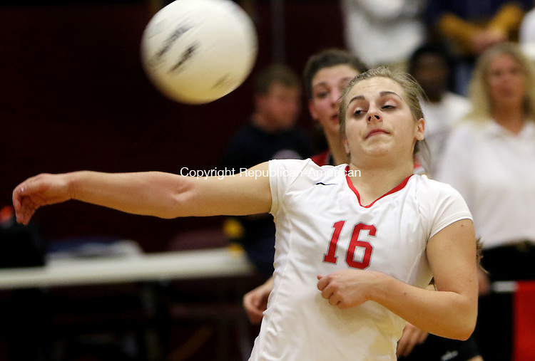 CANTON CT. 15 November 2016-111516SV13-#16 Morgan Twombly of Northwestern looks to set a ball as she lets it go out of bounds against Torrington during the CIAC Class M volleyball semifinal at Canton High in Canton Tuesday.<br /> Steven Valenti Republican-American