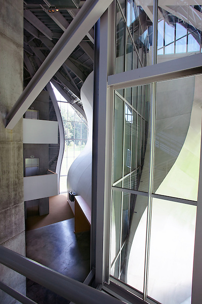 Interior lobby view of the Frank Gehry designed Richard B. Fisher Center for the Performing Arts at Bard College in Annondale-on-Hudson, NY.