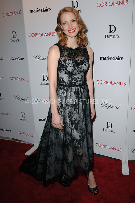 """WWW.ACEPIXS.COM . . . . . .January 17, 2012, New York City....Jessica Chastain attends Chopard & Dewar's New York Premiere of The Weinstein Company's """"Coriolanus"""" at the  Paris Theatre on  January 17, 2012  in New York City ....Please byline: KRISTIN CALLAHAN - ACEPIXS.COM.. . . . . . ..Ace Pictures, Inc: ..tel: (212) 243 8787 or (646) 769 0430..e-mail: info@acepixs.com..web: http://www.acepixs.com ."""