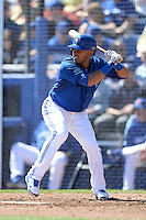Toronto Blue Jays shortstop Maicer Izturis (3) during a spring training game against the Pittsburgh Pirates on February 28, 2014 at Florida Auto Exchange Stadium in Dunedin, Florida.  Toronto defeated Pittsburgh 4-2.  (Mike Janes/Four Seam Images)
