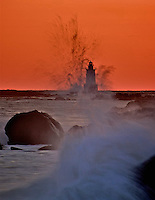 Sakonnet Point Lighthouse at sunset