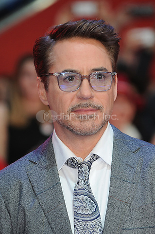 LONDON, ENGLAND - APRIL 26: Robert Downey JR attends the European premiere of Captain America: Civil War at Westfield Shopping Centre on April 26, 2016 in London, England.<br /> CAP/BEL<br /> &copy;BEL/Capital Pictures /MediaPunch ***NORTH AMERICAN AND SOUTH AMERICAN SALES ONLY***