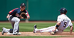Reno Aces' Cole Gillespie steals safely into second against Tacoma Rainiers' Luis Rodriguez during the minor league baseball game in Reno, Nev., on Wednesday, May 30, 2012. The Aces won 13-5..Photo by Cathleen Allison