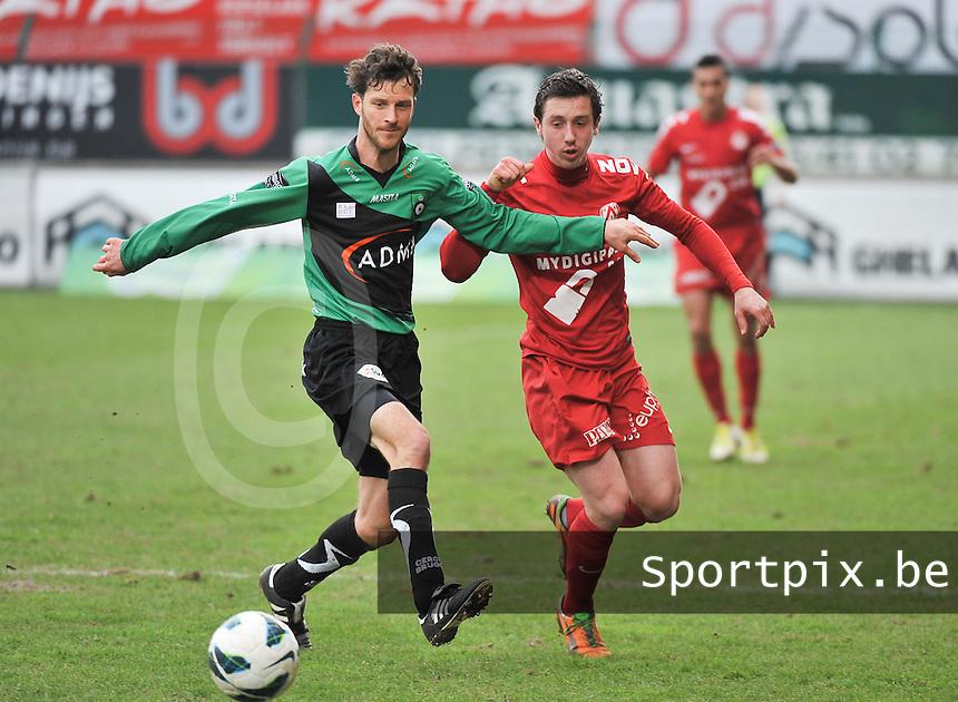 KV Kortrijk - Cercle Brugge : Frederik Boi voor Brecht Dejaegere.foto VDB / BART VANDENBROUCKE