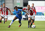 Gillingham's Ryan Jackson tussles with Sheffield United's Matt Done during the League One match at the Priestfield Stadium, Gillingham. Picture date: September 4th, 2016. Pic David Klein/Sportimage