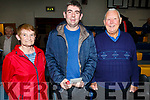 Ann and Ted O'Donoghue (Cordal) and Willie Moore (Rathmore) attending the St Marys Basketball Monster bingo night in Castleisland on Tuesday.